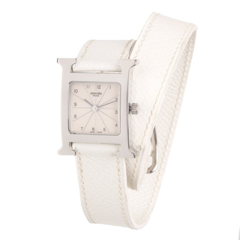 Hermes White Leather H Hour Double Tour Watch Pm Accessories