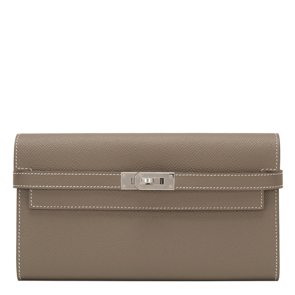 Hermes Etoupe Epsom Kelly Long Wallet Handbags