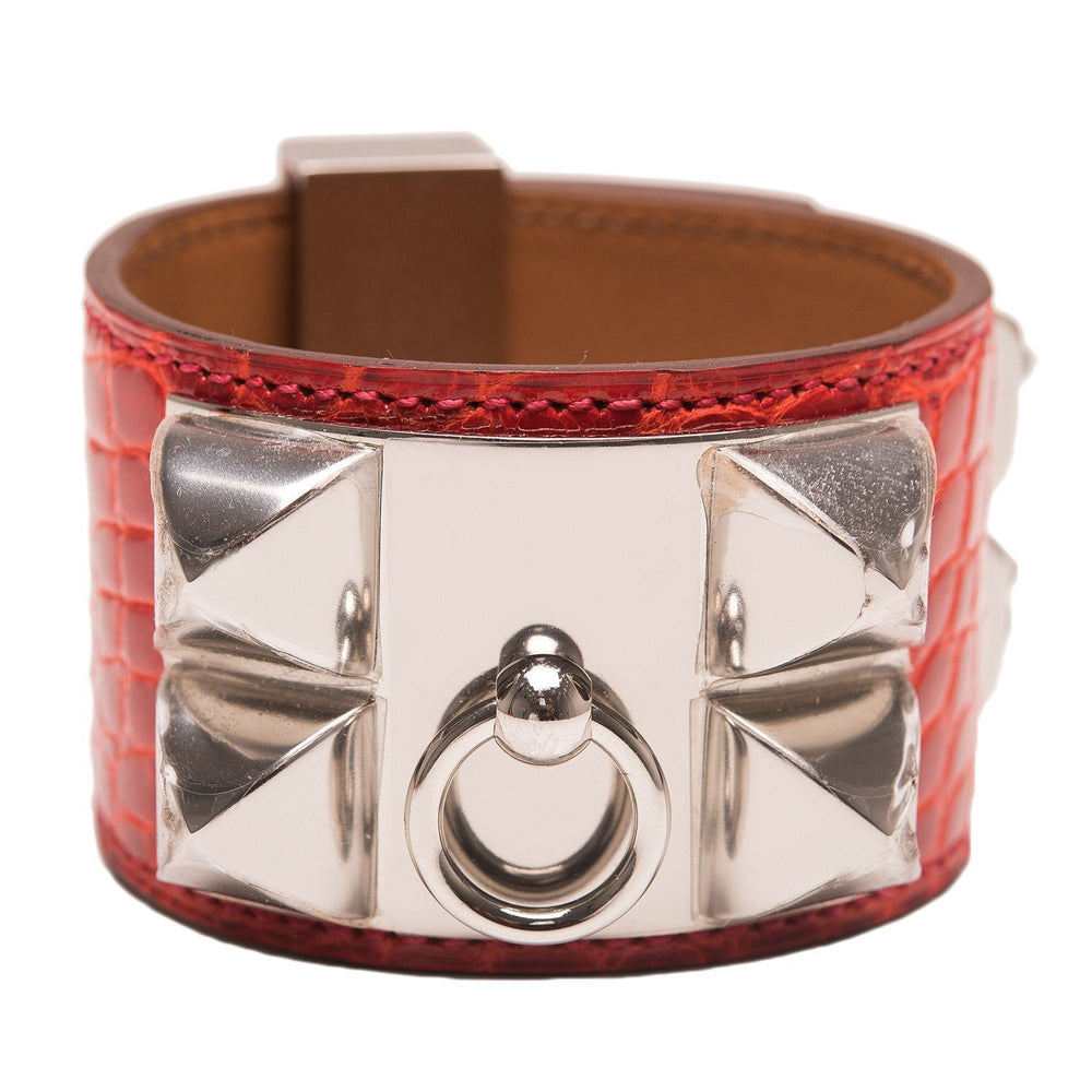 Hermes Geranium Shiny Alligator Collier De Chien Cdc Bracelet Small Accessories