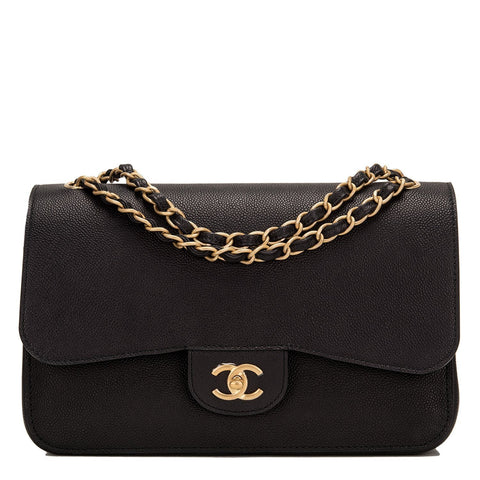 Chanel Black Caviar Jumbo Classic Double Flap Bag Handbags