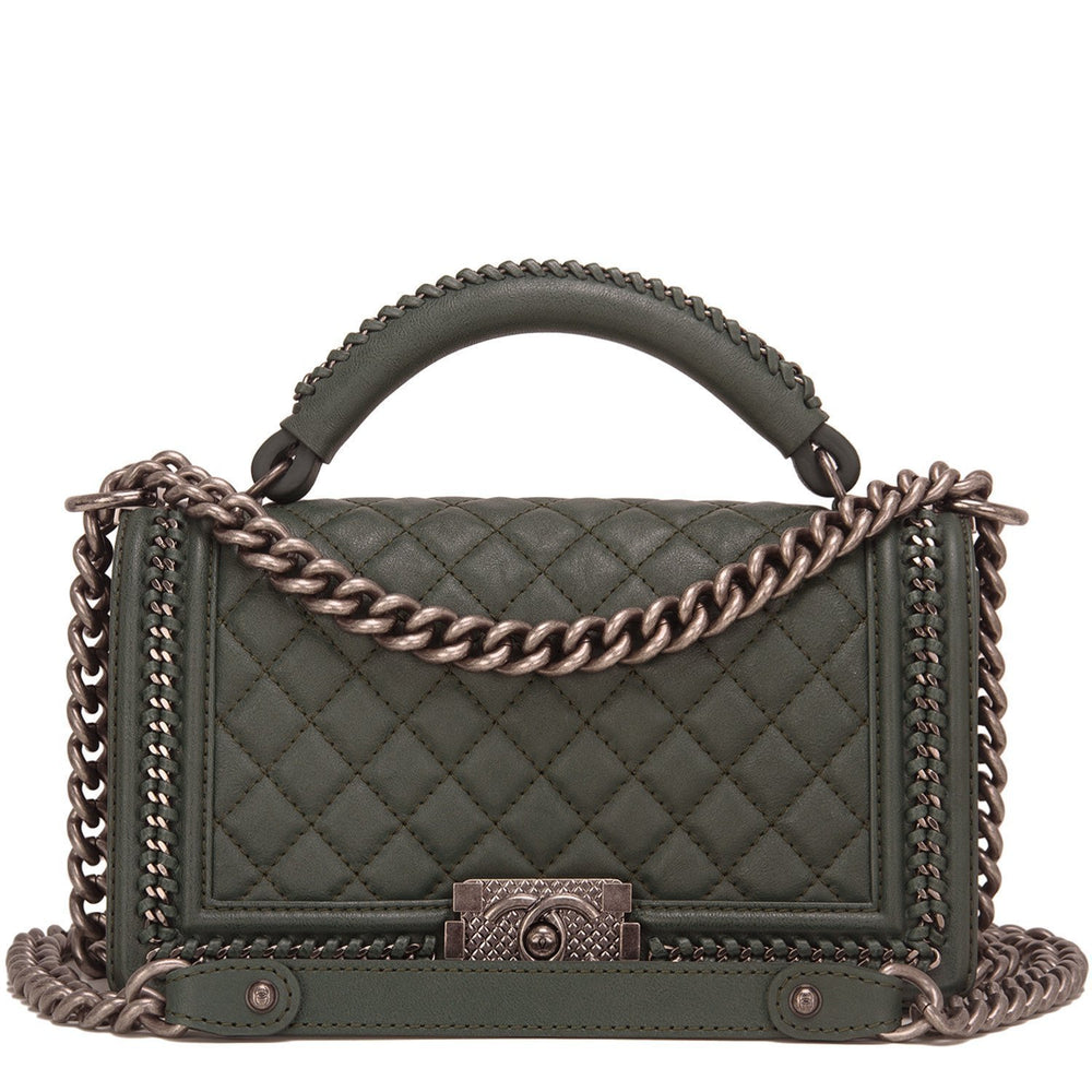 Chanel Paris In Rome Dark Green Quilted Calfskin Medium Boy Bag With Handle Handbags