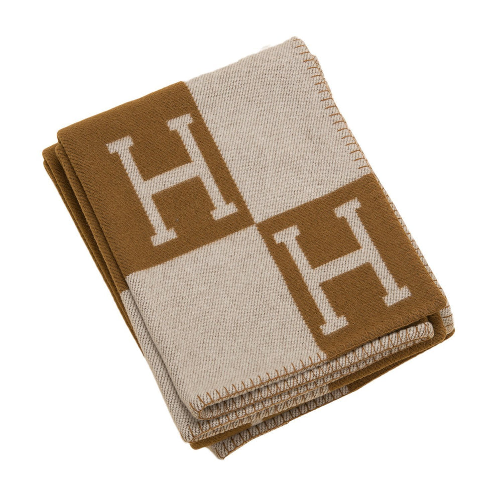 Hermes Classic Avalon Signature H Ecru And Camel Blanket