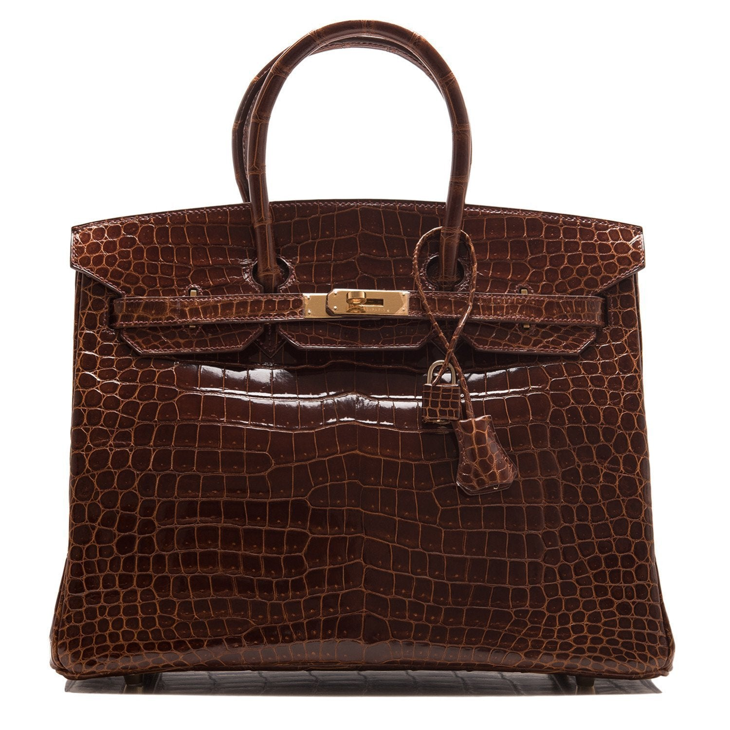 Hermes Cognac Shiny Porosus Crocodile Birkin 35Cm Gold Hardware Pre Loved Handbags