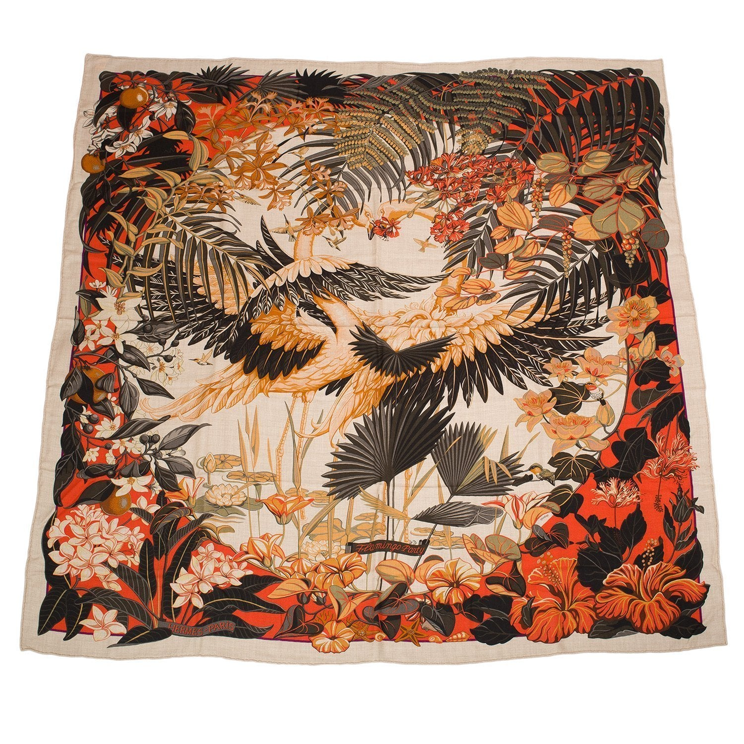 Hermes Flamingo Party Cashmere And Silk Shawl 140Cm Scarves