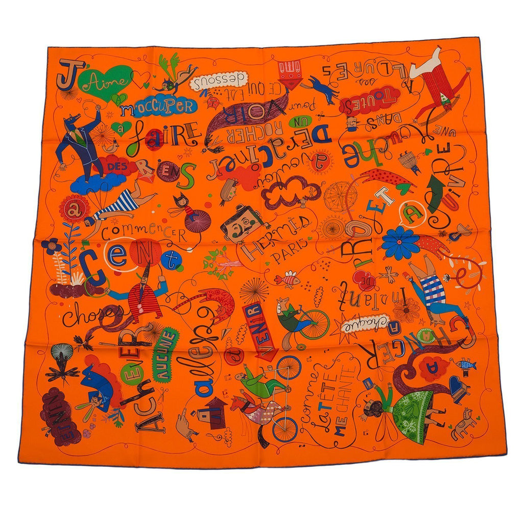 Hermes Les Confessions Silk Twill Scarf 90Cm Scarves