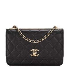 Chanel Black Quilted Lambskin Trendy Cc Wallet On Chain Woc Handbags
