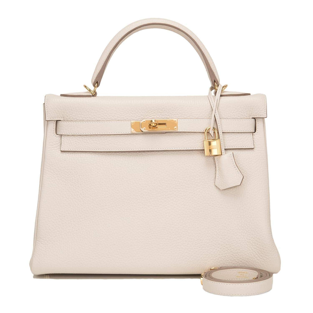 Hermes Craie Clemence Kelly 32Cm Gold Hardware Handbags