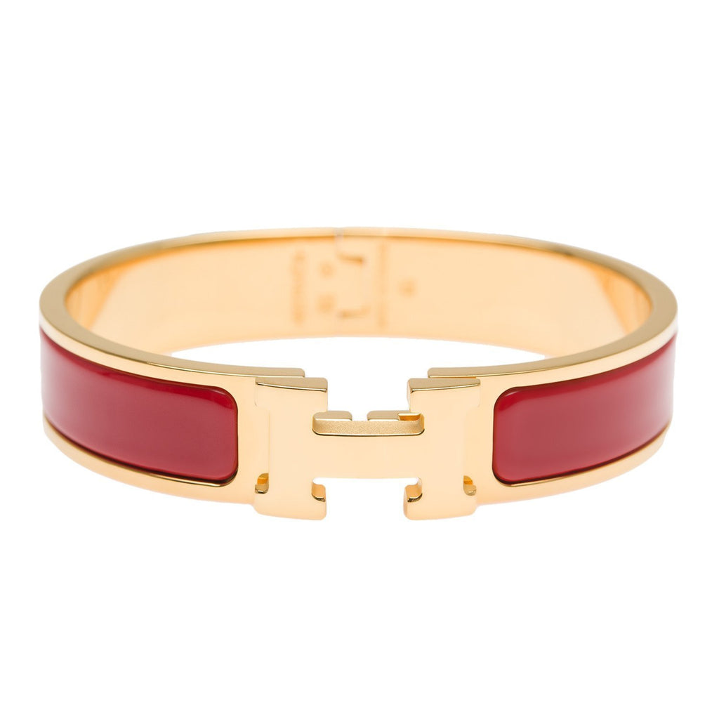 Hermes Amaranth Red Clic Clac H Narrow Enamel Bracelet Pm Accessories