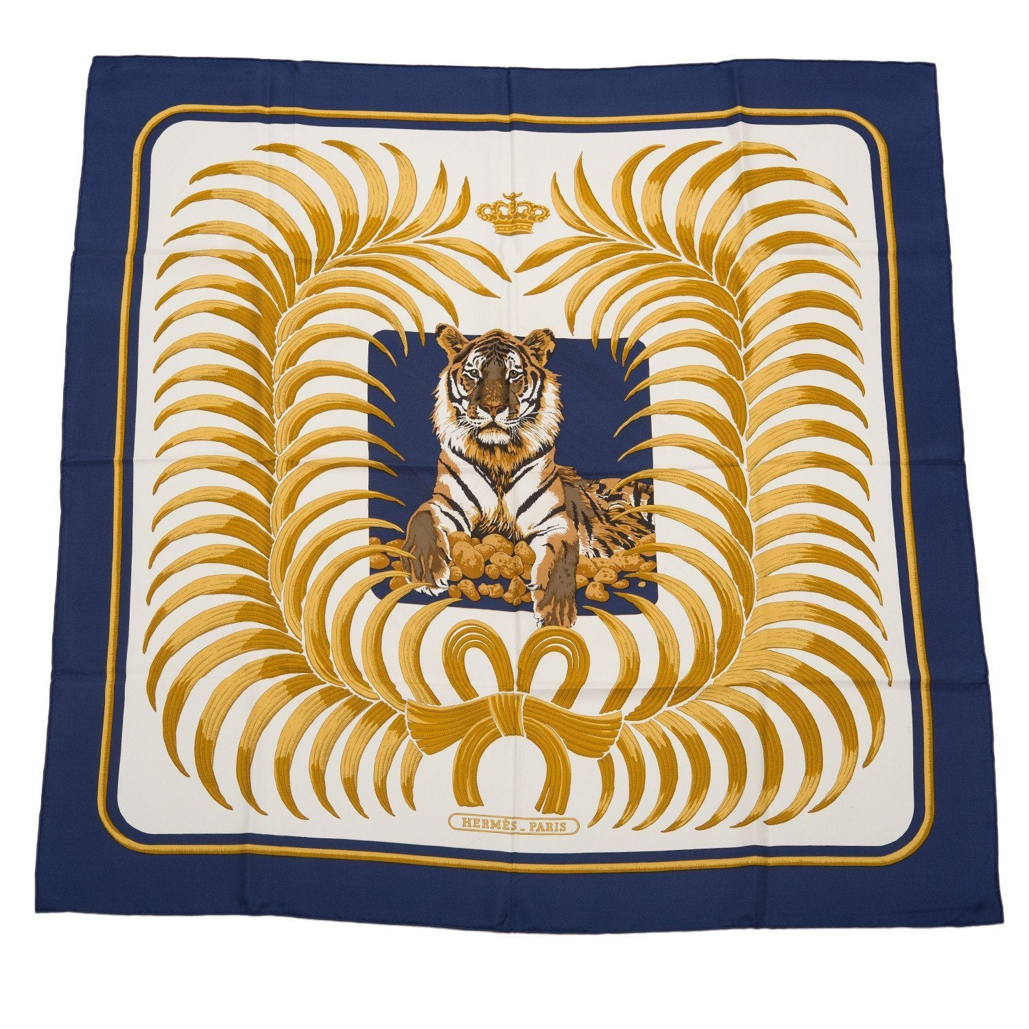 Hermes Vintage Tigre Royal Silk Twill Scarf 90Cm Preloved Mint Scarves