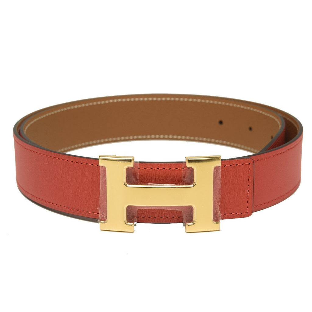 Hermes 32Mm Reversible Rouge Grenatgold Constance H Belt 85Cm Gold Buckle Accessories