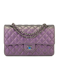 Chanel Purple Mermaid Iridescent Quilted Lambskin Medium Classic Double Flap Bag Handbags