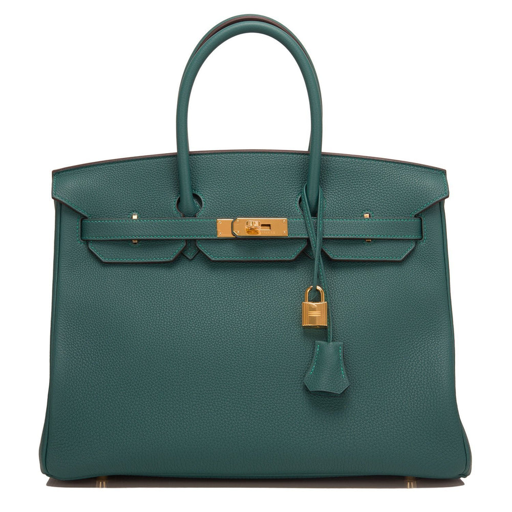 Hermes Malachite Togo Birkin 35Cm Gold Hardware Handbags