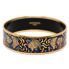 Hermes Fishes And Ferns Wide Printed Enamel Bracelet Pm 65 Preloved Excellent Accessories
