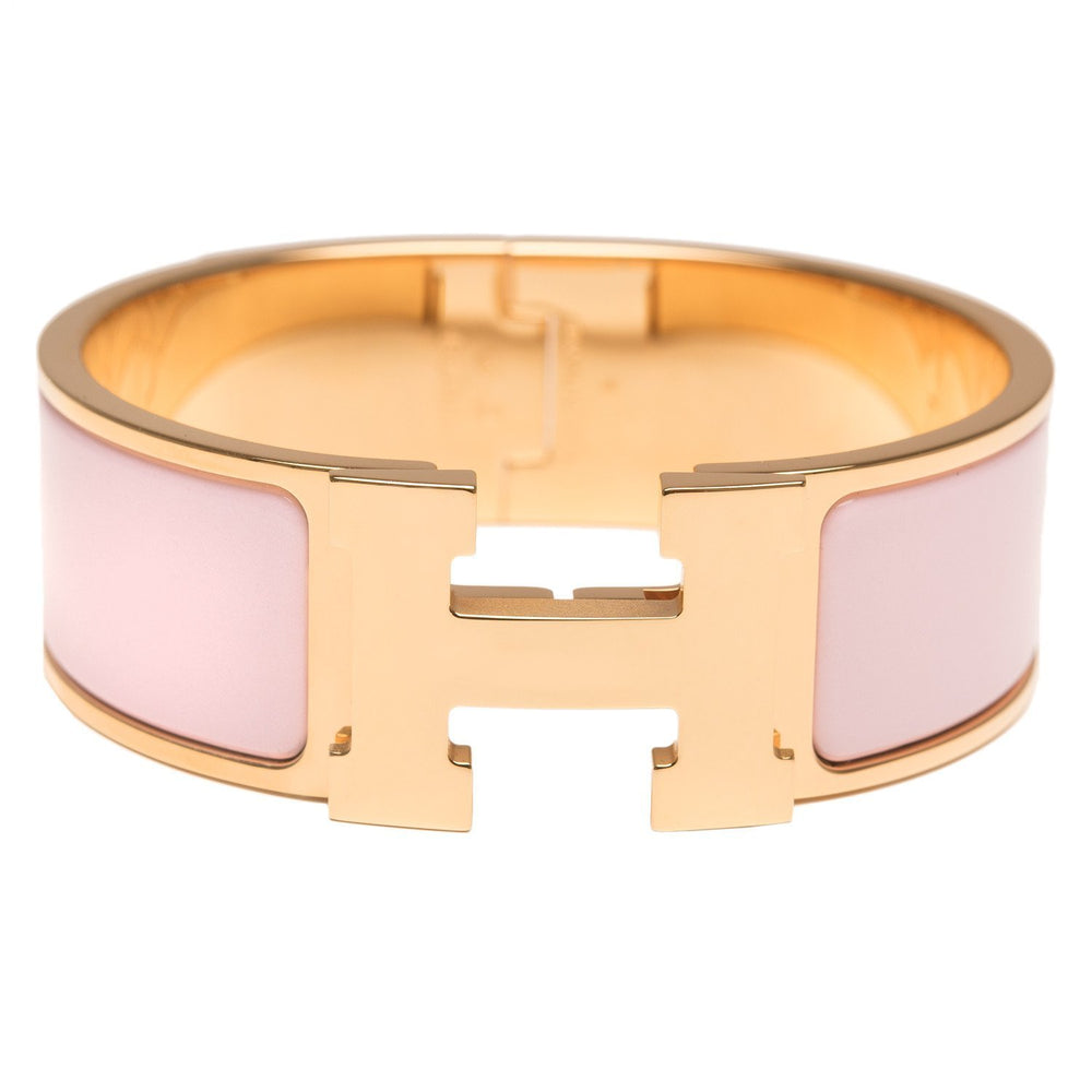 Hermes Rose Dragee Clic Clac H Wide Enamel Bracelet Pm Accessories