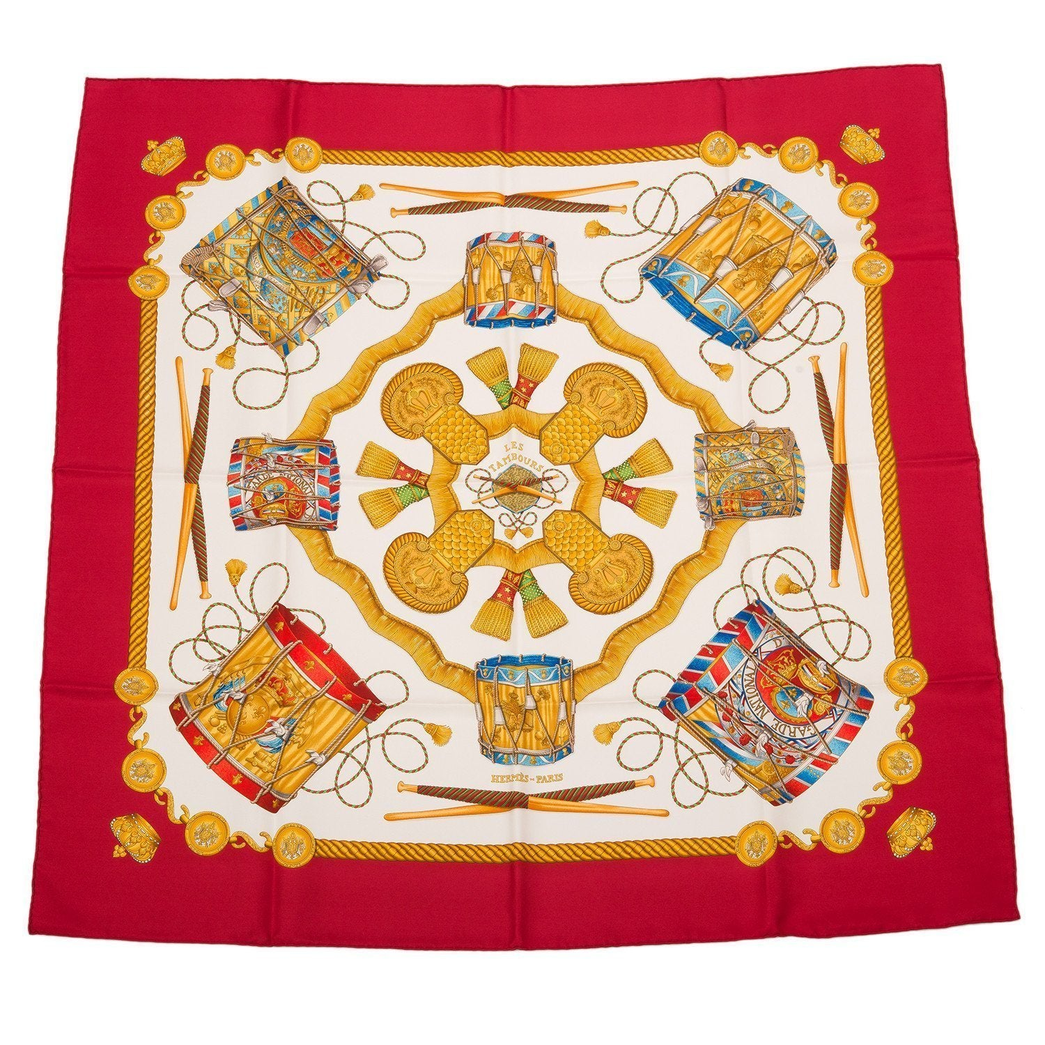 Hermes Les Tambours Silk Twill Scarf 90Cm Scarves
