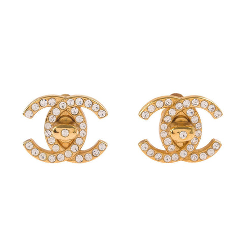 Chanel Vintage Large Rhinestone Cc Logo Turnlock Earrings Accessories