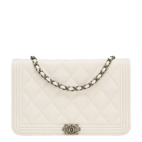 Chanel Ivory Quilted Caviar Boy Wallet On Chain Woc Handbags
