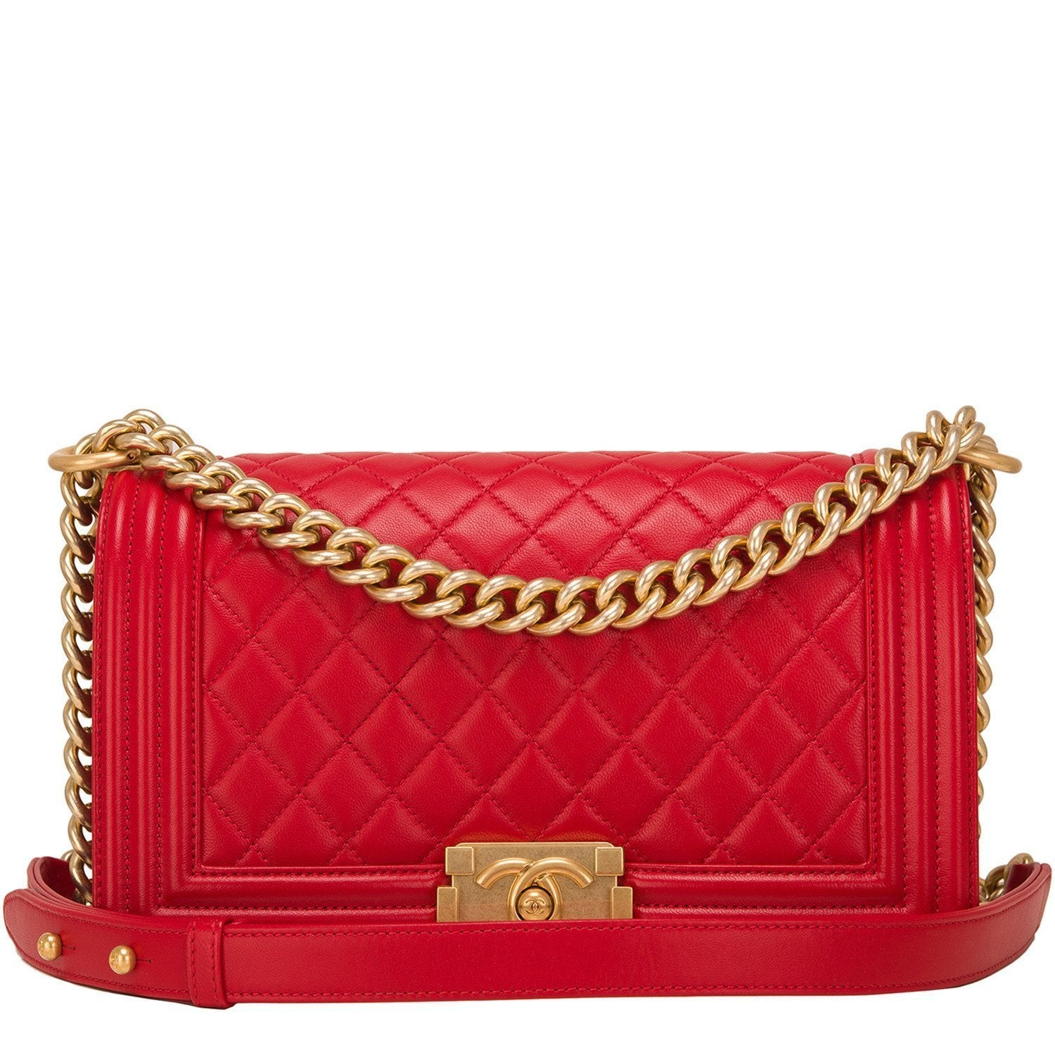Chanel Red Quilted Lambskin Medium Boy Bag Handbags