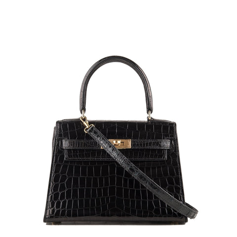 Hermes Black Shiny Niloticus Crocodile Sellier Kelly 20Cm Gold Hardware Preloved Mint Handbags