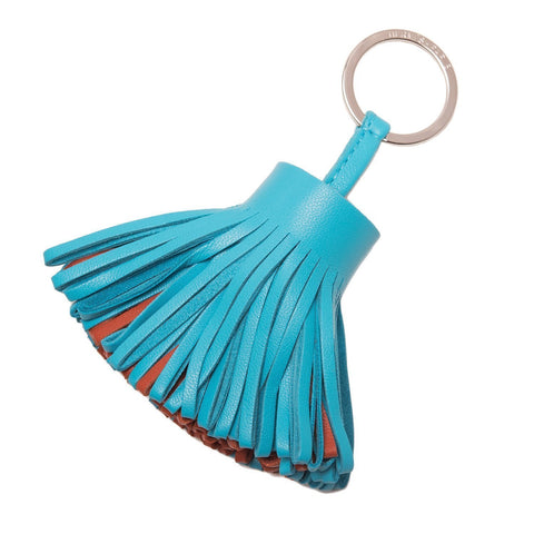 Hermes Electric Blue and Black Leather Carmen Uno-Dos Tassel Keychain