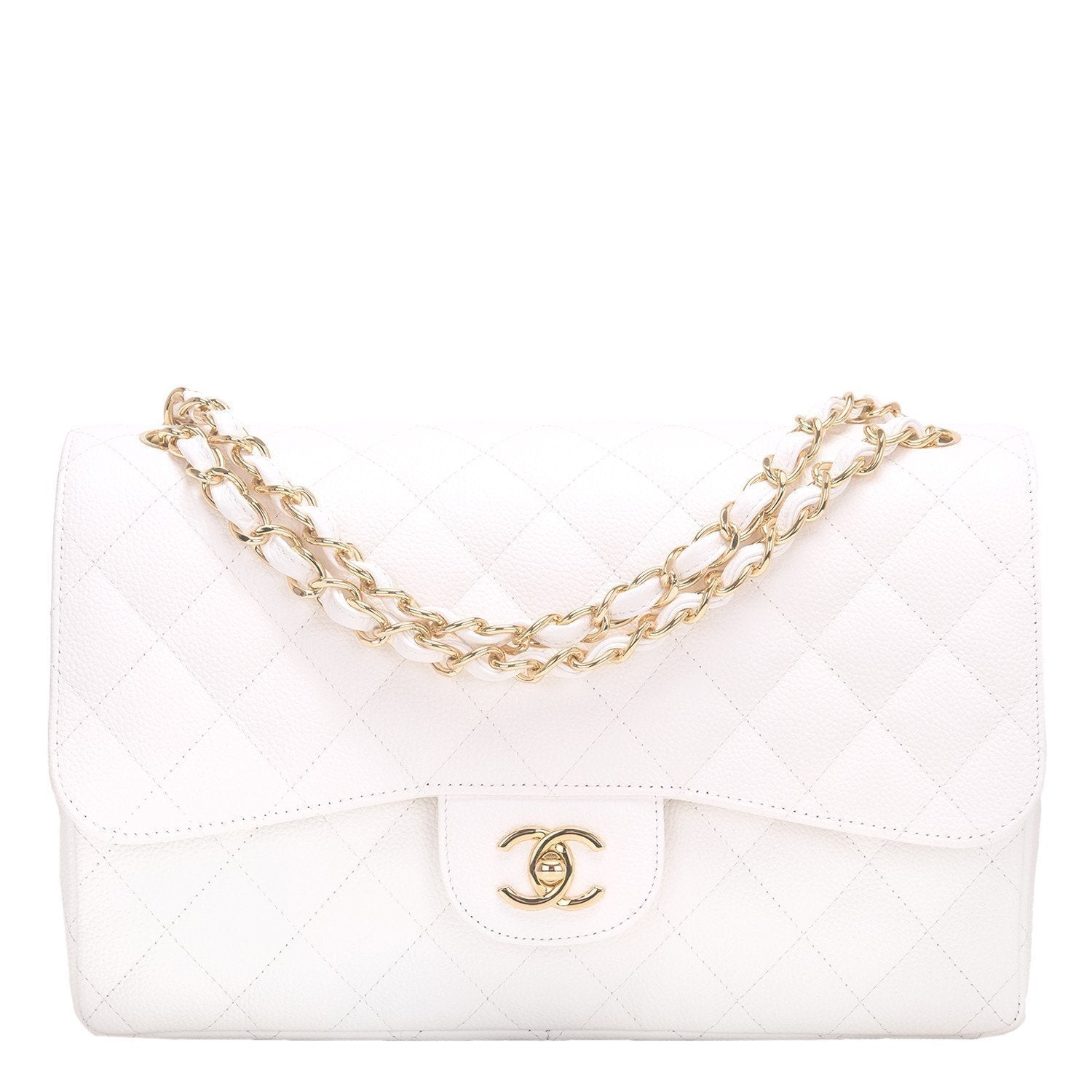 Chanel White Quilted Caviar Jumbo Classic Flap Bag – Madison Avenue ... 3aad7ecd28d86