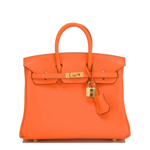 Hermes Orange Swift Birkin 25Cm Gold Hardware Handbags