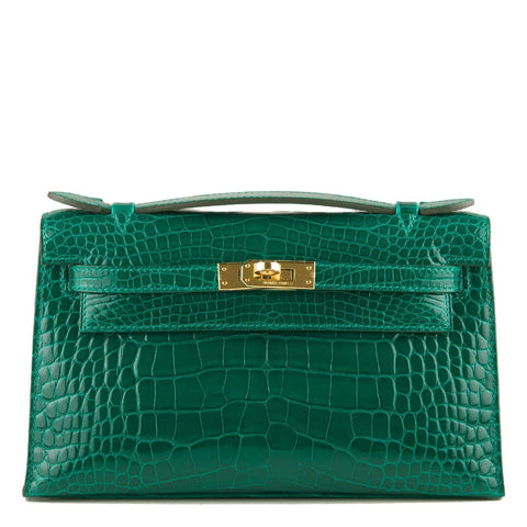 Hermes Emerald Shiny Alligator Mini Kelly Pochette Gold Hardware Handbags