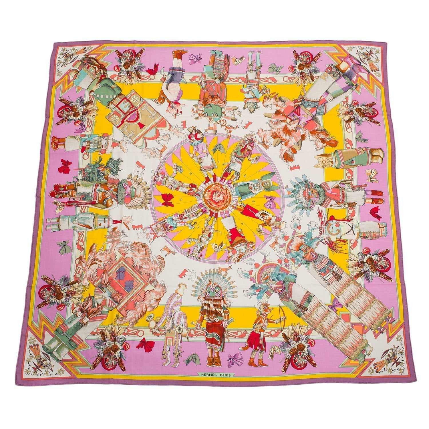 Hermes Kachinas Cashmere And Silk Shawl 140Cm Scarves