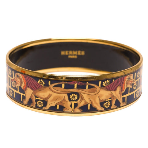 Hermes Egyptian Lion Wide Printed Enamel Bracelet Pm 65 Accessories