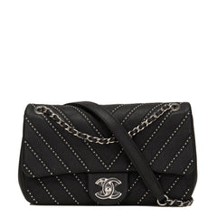 Chanel Black Studded Chevron Calfskin Flap Bag Handbags