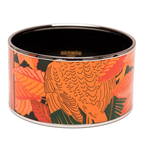 Hermes Les Perroquets Extra Wide Printed Enamel Bracelet Pm 65 Accessories
