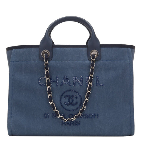 4037f0f08d8f Chanel Large Navy Canvas With Sequins Deauville Tote
