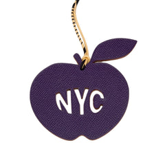 Hermes Limited Edition Ultraviolet And Capucine Petit H Nyc Apple Leather Bag Charm Accessories