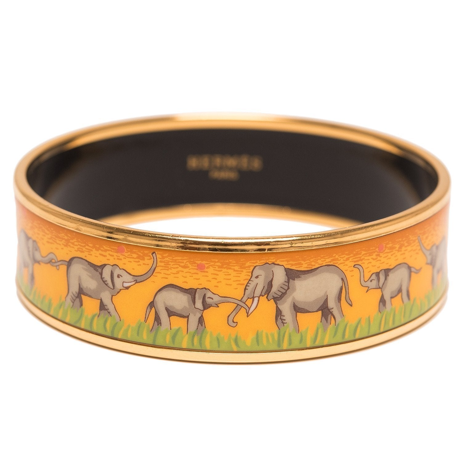 Hermes Elephants Grazing Wide Printed Enamel Bracelet Pm 65 Accessories