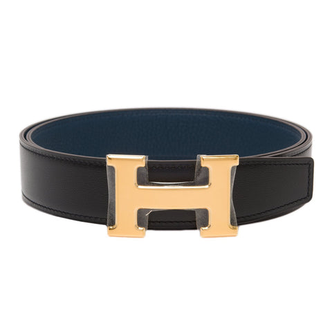 Hermes 32Mm Reversible Blackcolvert Constance H Belt 90Cm Gold Buckle Accessories
