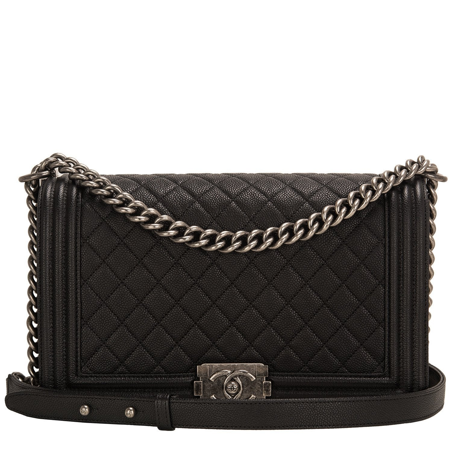 Chanel Black Quilted Caviar New Medium Boy Bag Handbags