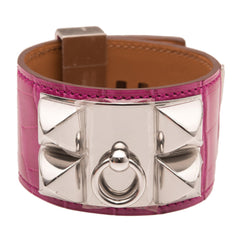 Hermes Fuchsia Shiny Alligator Collier De Chien Cdc Bracelet Small Accessories