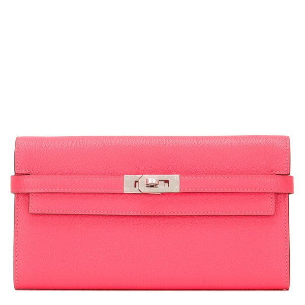 Hermes Rose Lipstick Chevre Kelly Long Wallet Palladium Hardware