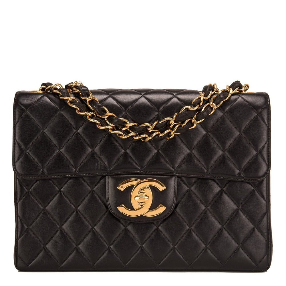Chanel Vintage Black Quilted Lambskin Jumbo Classic Flap Bag Handbags