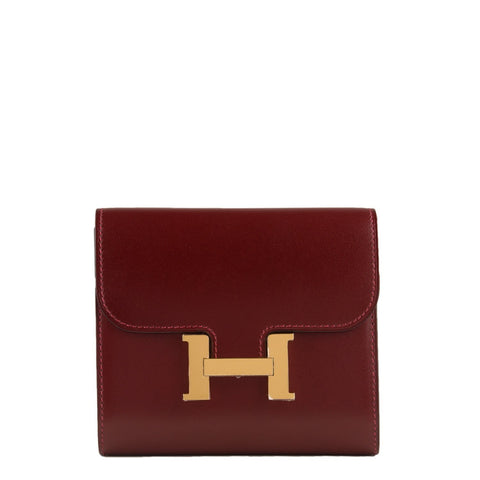 Hermes Rouge H Box Constance Compact Wallet Handbags