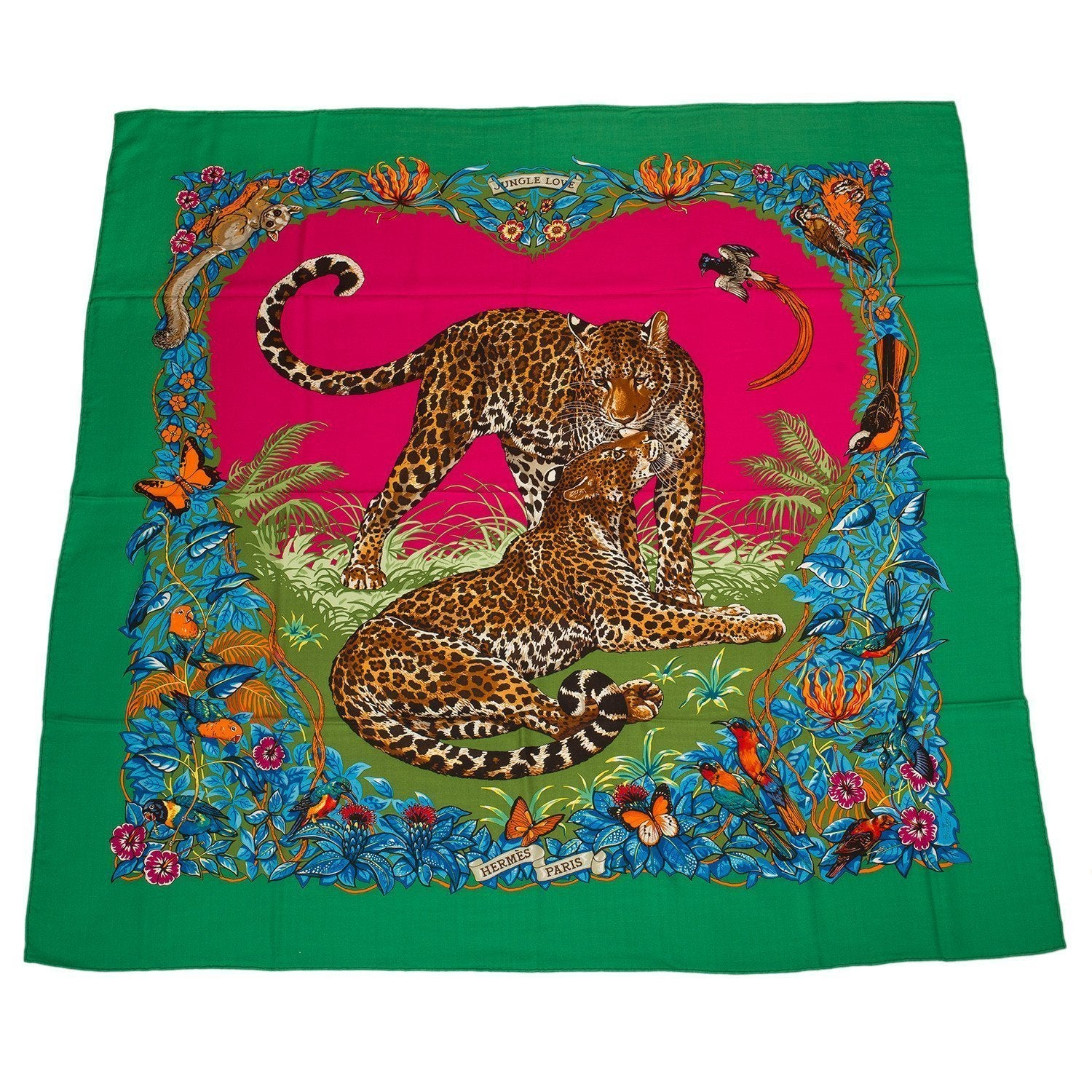 Hermes Jungle Love Cashmere And Silk Shawl 140Cm Scarves