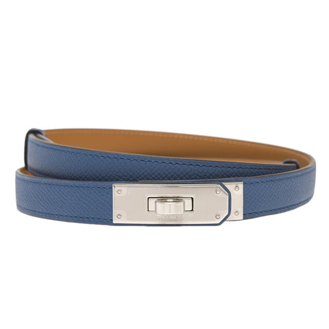 Hermes Blue Agate Epsom Kelly Belt Palladium Hardware Accessories