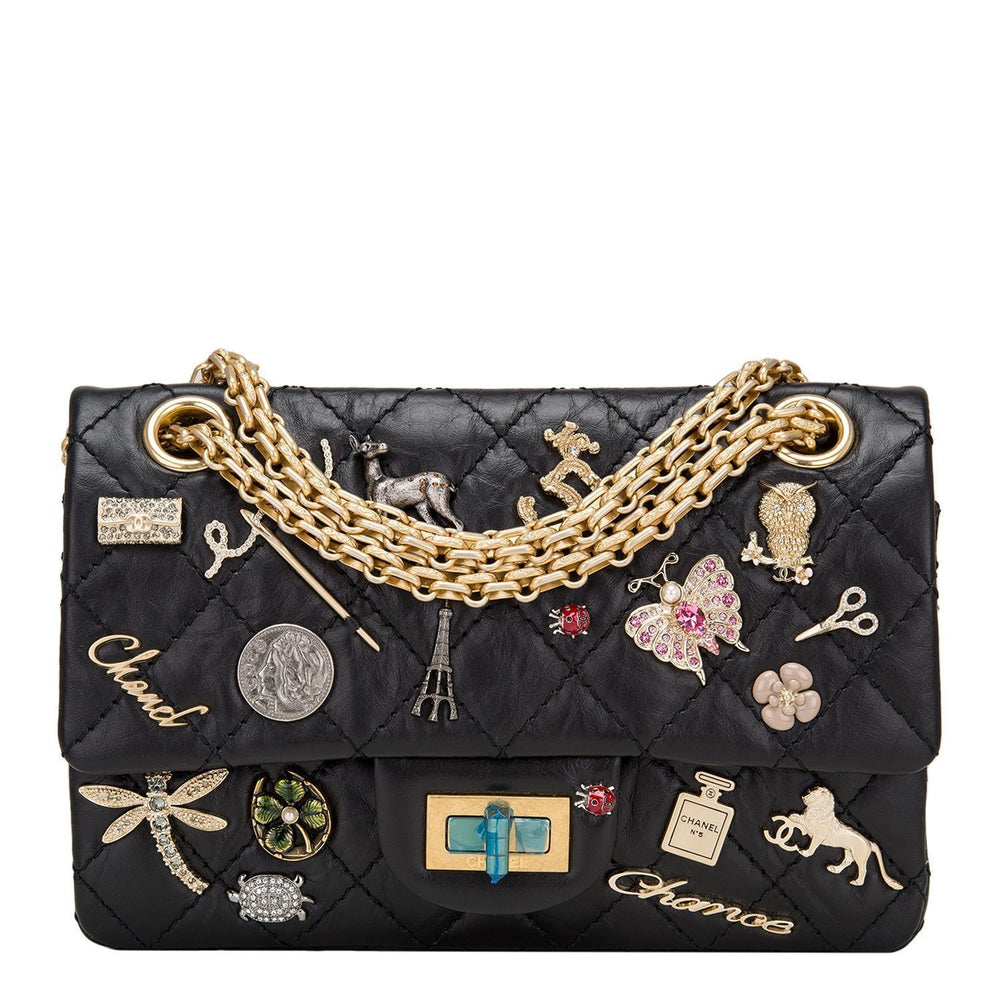 Chanel Black Reissue 2 55 Lucky Charm Bag Size 224 Handbags
