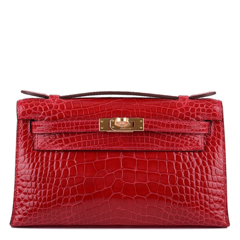 4af4ddfc7b35 Hermes Braise Shiny Alligator Mini Kelly Pochette