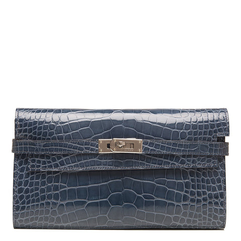 Hermes Blue Tempete Shiny Alligator Kelly Long Wallet Handbags