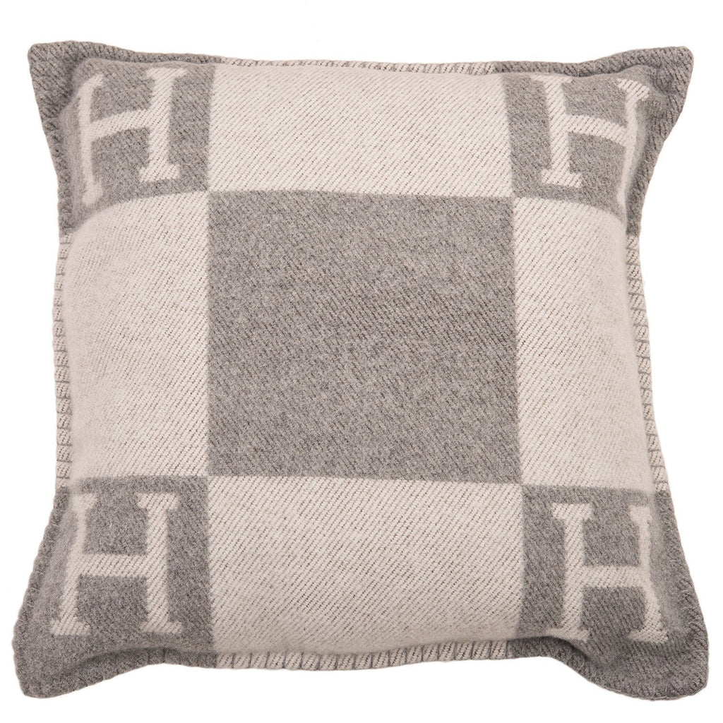 Hermes Avalon Ecru And Light Grey Signature H Cushion Pm