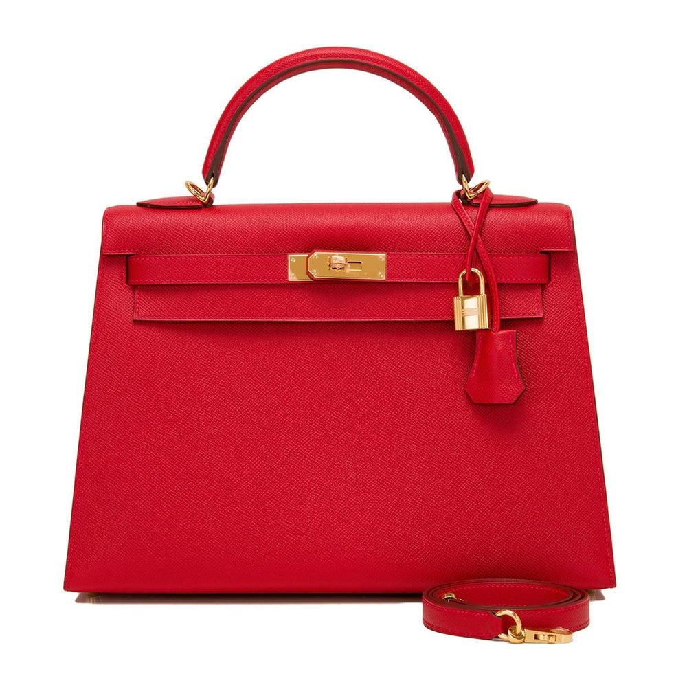 Hermes Rouge Casaque Epsom Sellier Kelly 32Cm Gold Hardware Handbags