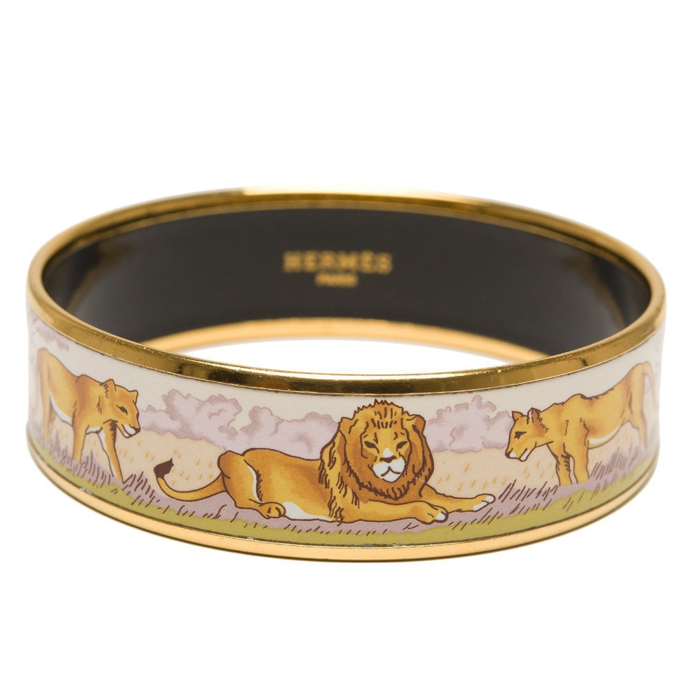 Hermes Safari Wide Printed Enamel Bracelet Pm 65 Accessories