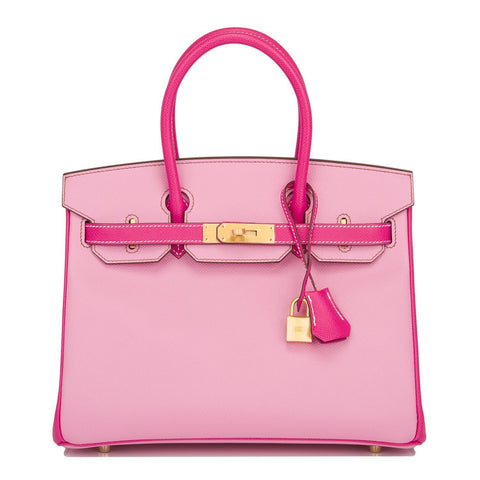 Hermes Hss Bi Color 5P Bubblegum And Rose Tyrien Epsom Birkin 30Cm Brushed Gold Hardware Handbags