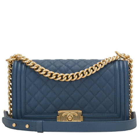 Chanel Dark Blue Caviar Medium Boy Bag Handbags